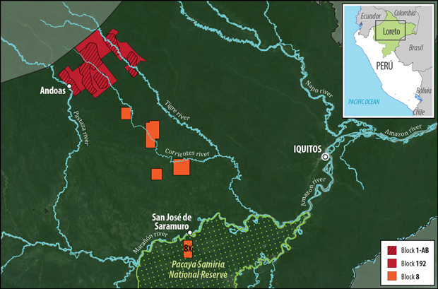 Map of environmental crisis zones Loreto